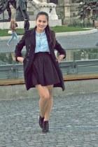black pull&bear boots - black Zara coat - sky blue denim Stradivarius shirt