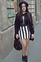 black no name boots - black Zara coat - black H&M hat - black New Yoker shirt