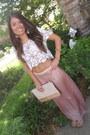 Off-white-crochet-forever-21-shirt-light-pink-glitter-aldo-bag