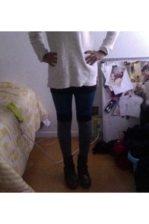 knee high Target socks - combat Cathy Jean boots - soft Urban Outfitters sweater