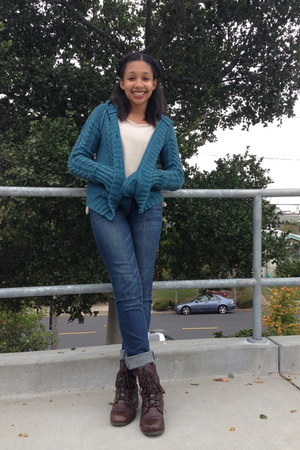 combat Cathy Jean boots - skinny Aeropostale jeans - teal Salvation Army sweater