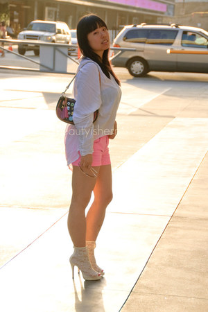 white cotton on blouse - hot pink shorts - white gmarket heels