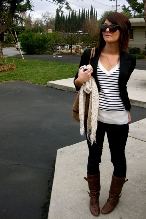 white stripes H&M sweater - brown boots Steve Madden boots