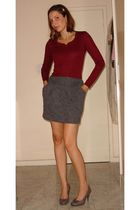 red Renner shirt - gray Renner skirt - brown c&a shoes - silver BIJU accessories