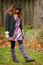 Grey-suede-charlotte-russe-boots-black-target-blazer-stripes-ny-and-co-skirt