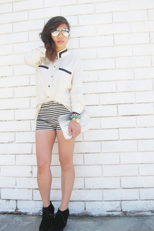 striped Forever 21 shorts - vintage silk Gucci top - gold Marc Jacobs watch