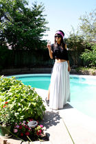 black H&M shirt - black Aldo shoes - purple vintage scarf - gray vintage skirt