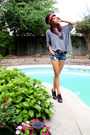 Black-aldo-shoes-blue-shorts-black-jones-new-york-belt-gray-forever-21-shi