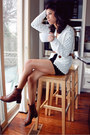 Dark-brown-vintage-boots-black-american-apparel-dress-off-white-fox-house-ca
