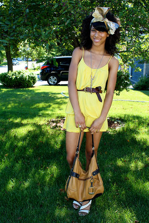 yellow vintage scarf - beige shoes - yellow dress - brown bag