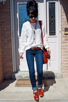 eggshell American Apparel jumper - navy garage jeans - red JLo heels