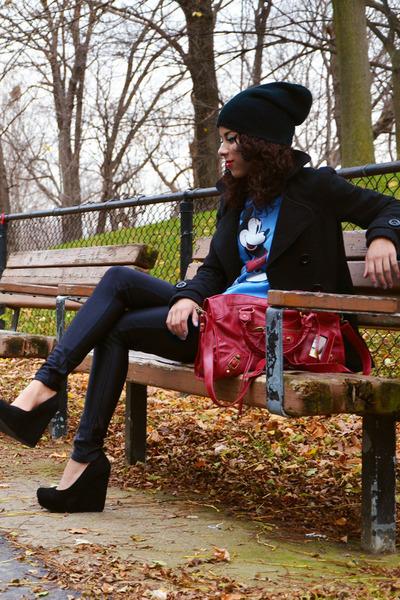 light blue vintage sweater - black Forever 21 coat - black Aldo pumps
