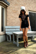 brown brown leather vintage boots - gray wool hat - black Dynamite shirt