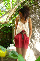 red Costa Blanca skirt - beige lace Forever21 shirt
