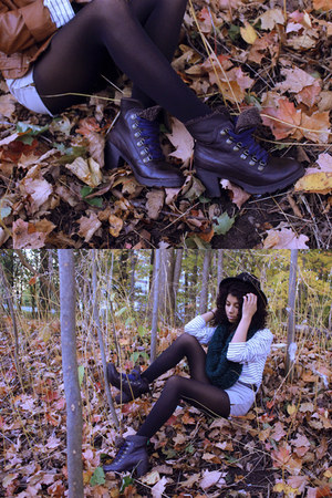 beige American Apparel sweater - dark brown Cougar Boots boots