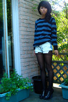 blue sweater - blue Vintage Levis shorts - black H&M tights - black Aldo shoes