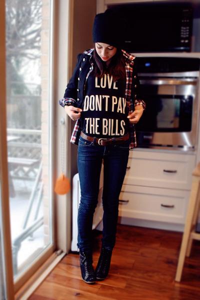 black Spring boots - black Forever 21 jacket - black dimepiece shirt - brick red