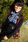 Black-sirens-shorts-black-urban-behaviour-sweater-blue-thrift-scarf-brown-
