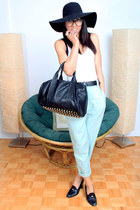 black vintage heels - light blue American Apparel pants