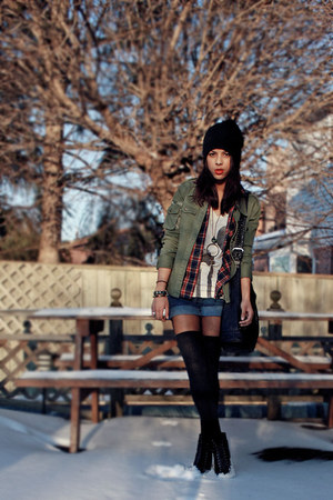 black hat - army green thrifted vintage jacket - crimson American Apparel shirt