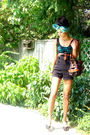 Blue-scarf-blue-shirt-black-urban-outfitters-shirt-black-sirens-shorts