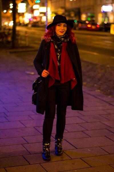 romwe jumper - romwe coat - Zara jeans - Choies hat