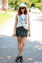 romwe top - newera hat - BADstyle skirt - romwe bracelet
