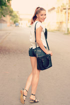 romwe top - PERSUNMALL bag - abercrombie and fitch shorts - romwe sandals