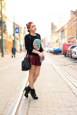 romwe skirt - PERSUNMALL bag - romwe sweatshirt