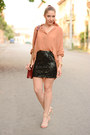 romwe skirt - Choies bag - Zara sandals