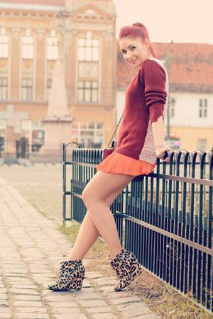 romwe jumper - Mango boots - Choies bag