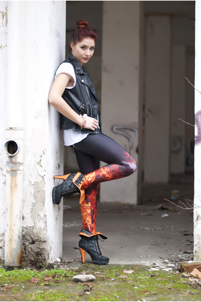 leather NewYorker vest - distressed BAD style boots - fire print romwe leggings