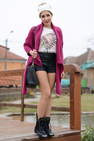 romwe cardigan - Choies boots - PERSUNMALL bag - Choies shorts