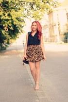 Choies skirt - PERSUNMALL bag - romwe sunglasses - romwe top - Zara sandals