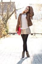 Stradivarius jacket - Mango boots - Bershka dress - Esprit jumper