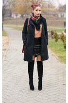 romwe jumper - Mart of China boots - romwe coat - Choies bag - romwe skirt