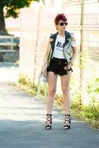 Anileda Alrac bag - romwe shorts - Choies heels - Choies earrings - Choies bra