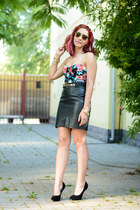 BADstyle skirt - Ray Ban sunglasses - romwe bracelet - romwe top