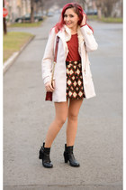 romwe skirt - PERSUNMALL boots - romwe coat - Choies bag - frontrow top