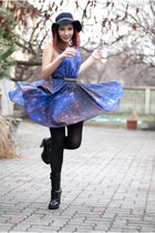 patent leather Mango boots - galaxy print romwe dress - DIY hat