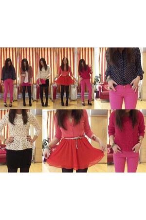 hot pink H&M sweater - peplum H&M shirt - polka dots Forever21 shirt