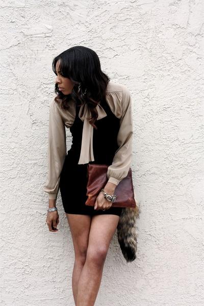 black BCBGMAXAZRIA dress - dark brown leather bag Vintage Gap bag