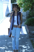periwinkle Current Elliot jeans - navy Urban Outfitters vest