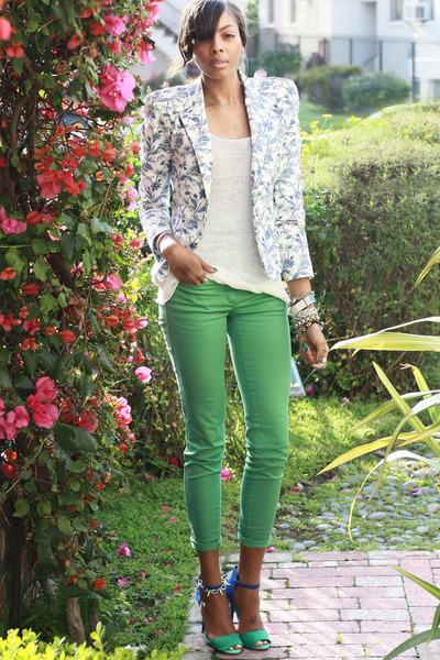 floral print Zara blazer - turquoise blue H&M pants