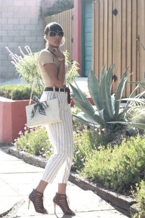 linen striped thrifted pants - off white diy chain strap Giani Bernini bag