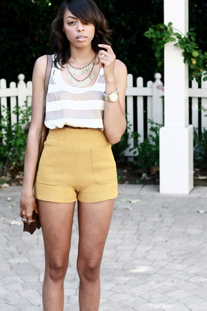 mustard high-waisted H&M shorts - heather gray asos sandals