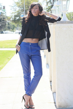 black Zara blazer - blue leather joggers Louise Gray x Asos pants