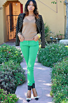 turquoise blue H&M pants - black studded Zara jacket - brown Zara sweater