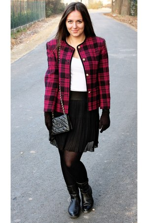magenta jacket - black shoes - black bag - white t-shirt - black skirt