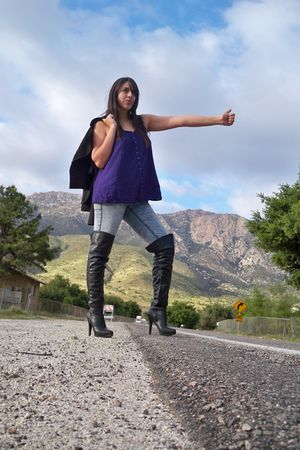 purple top - black Aldo boots